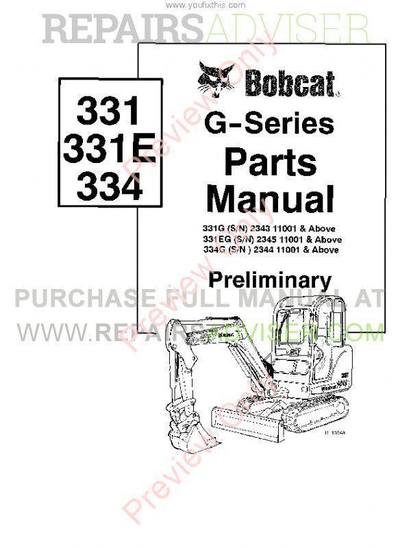 Bobcat 331, 331E, 334 (G-Series) Excavator Parts Manual PDF, Bobcat Manuals by www.repairsadviser.com